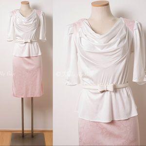 Dresses & Skirts - Vintage Pink Dress,80s dress,80s Peplum Dress M/L